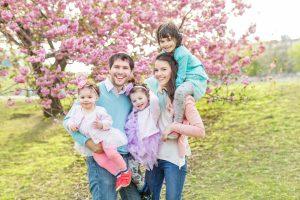 3 girls & pink blooms | boston spring family photos