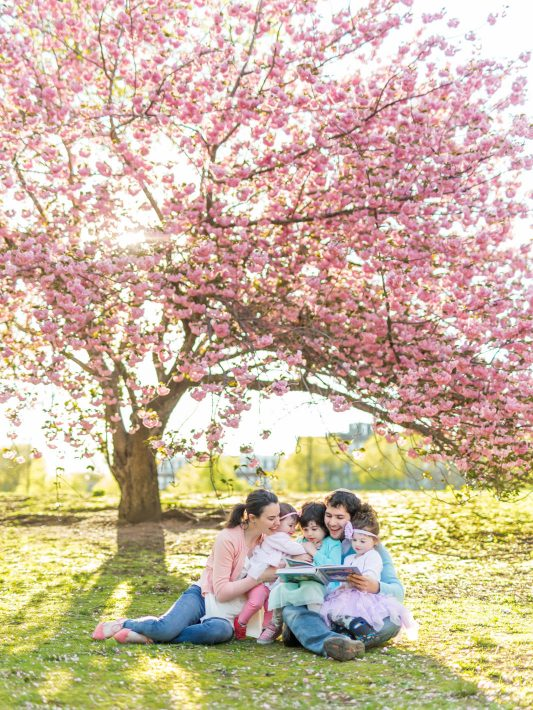 3 girls & pink blooms | boston spring family photos