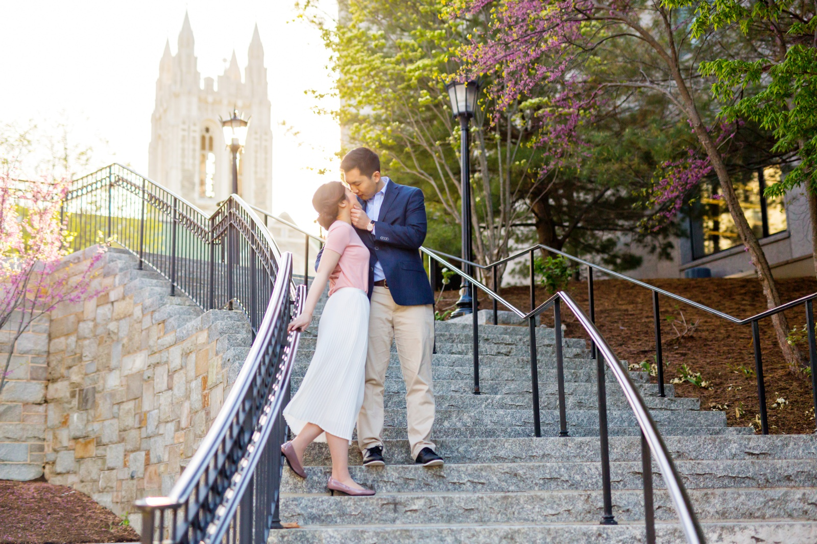 Engagement photo on the Higgins Stairs, also known as the Million Dollar Stairs.