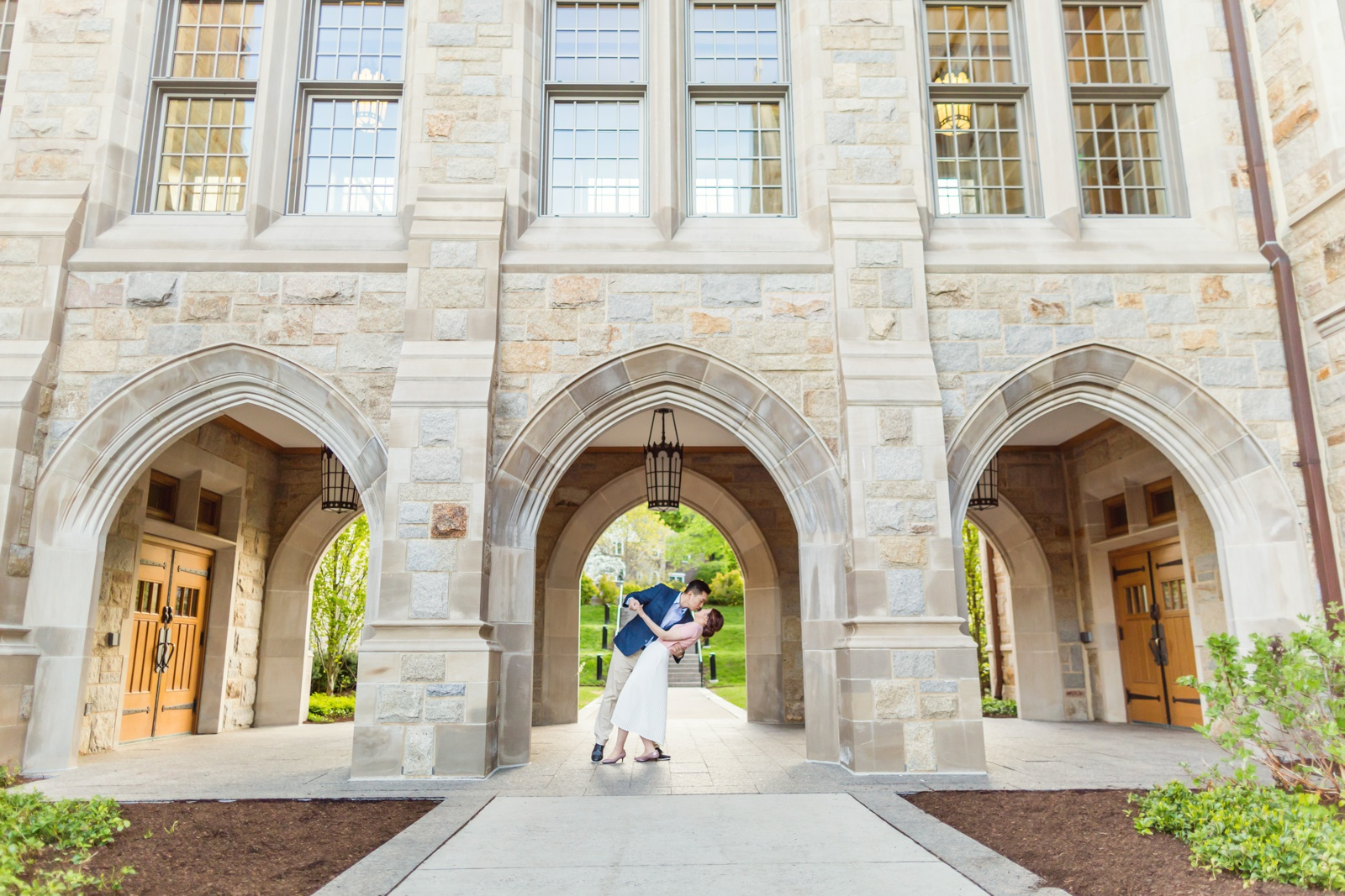 Engagement photos at Boston College arches
