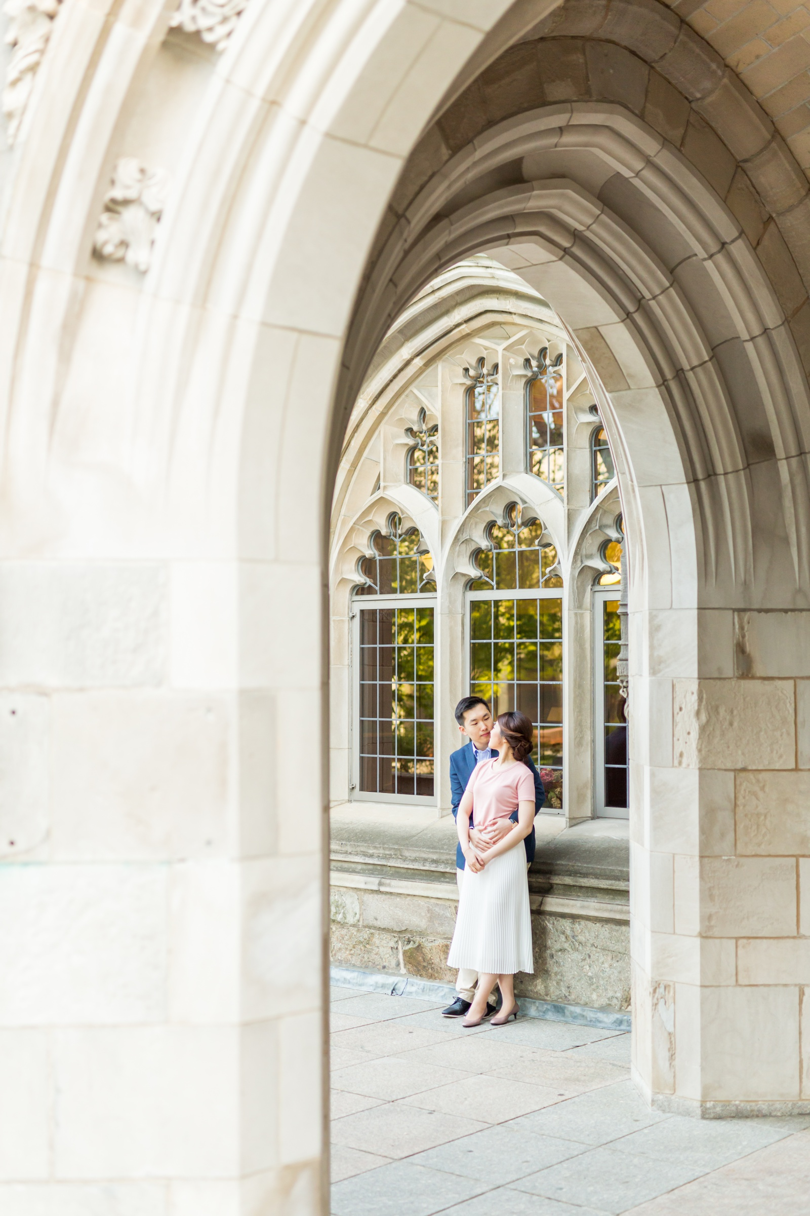 engagement photo taken at Boston College campus