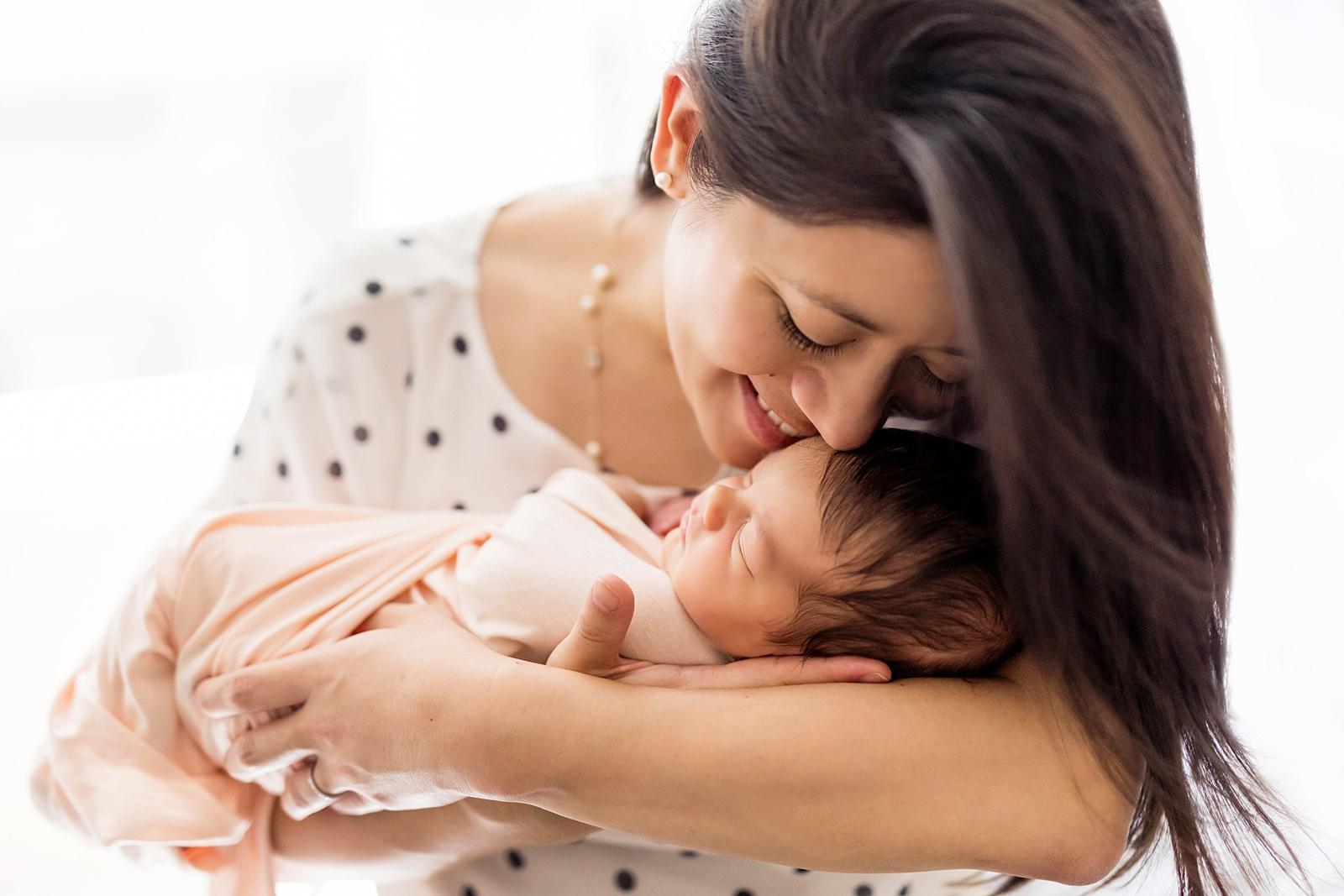 polka dot pink newborn mama