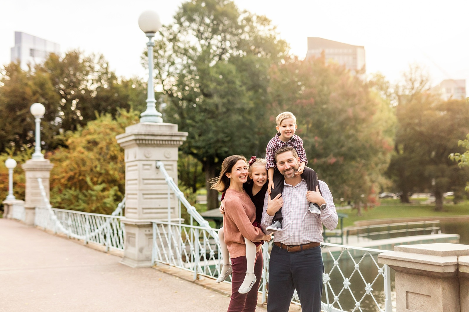 boston public garden bridge family photo