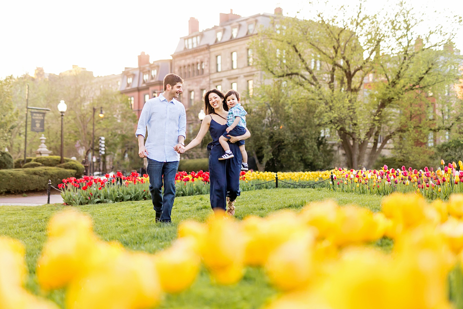 family walking through the boston public garden with tulips