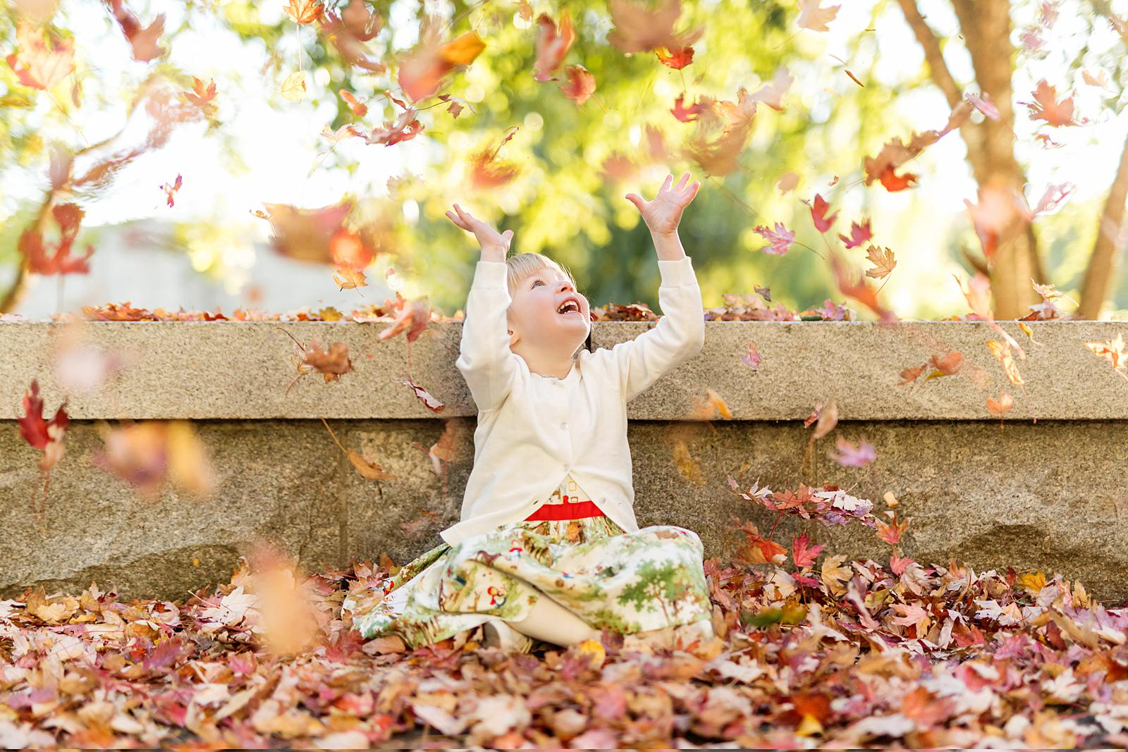 Boston family photographer - fall family photos with autumn leaves