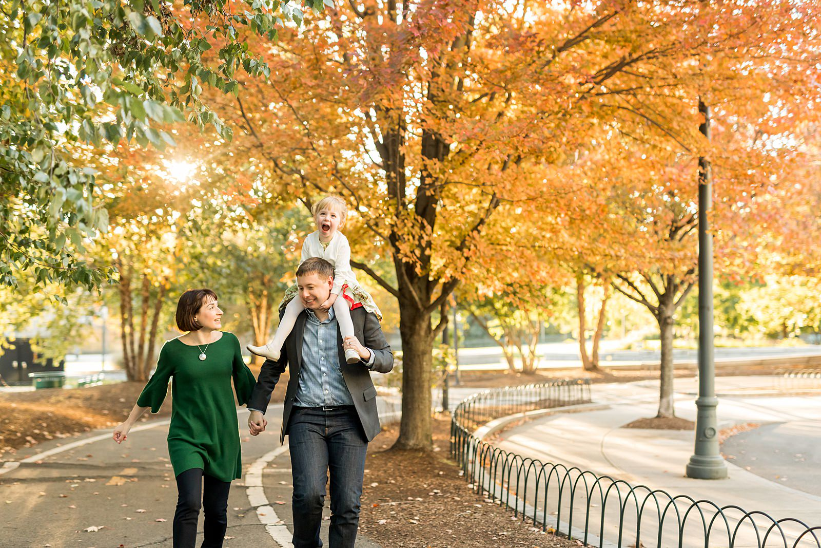 North Point Park family photographer with autumn leaves