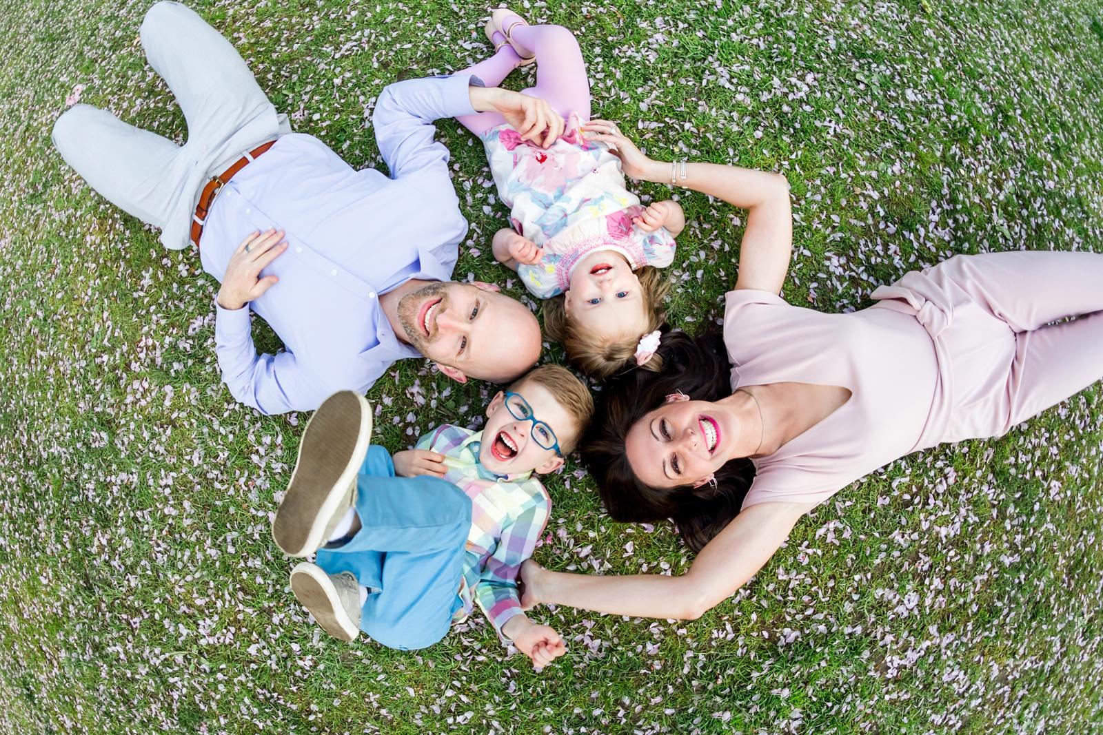 Family in Boston Public Garden in the spring