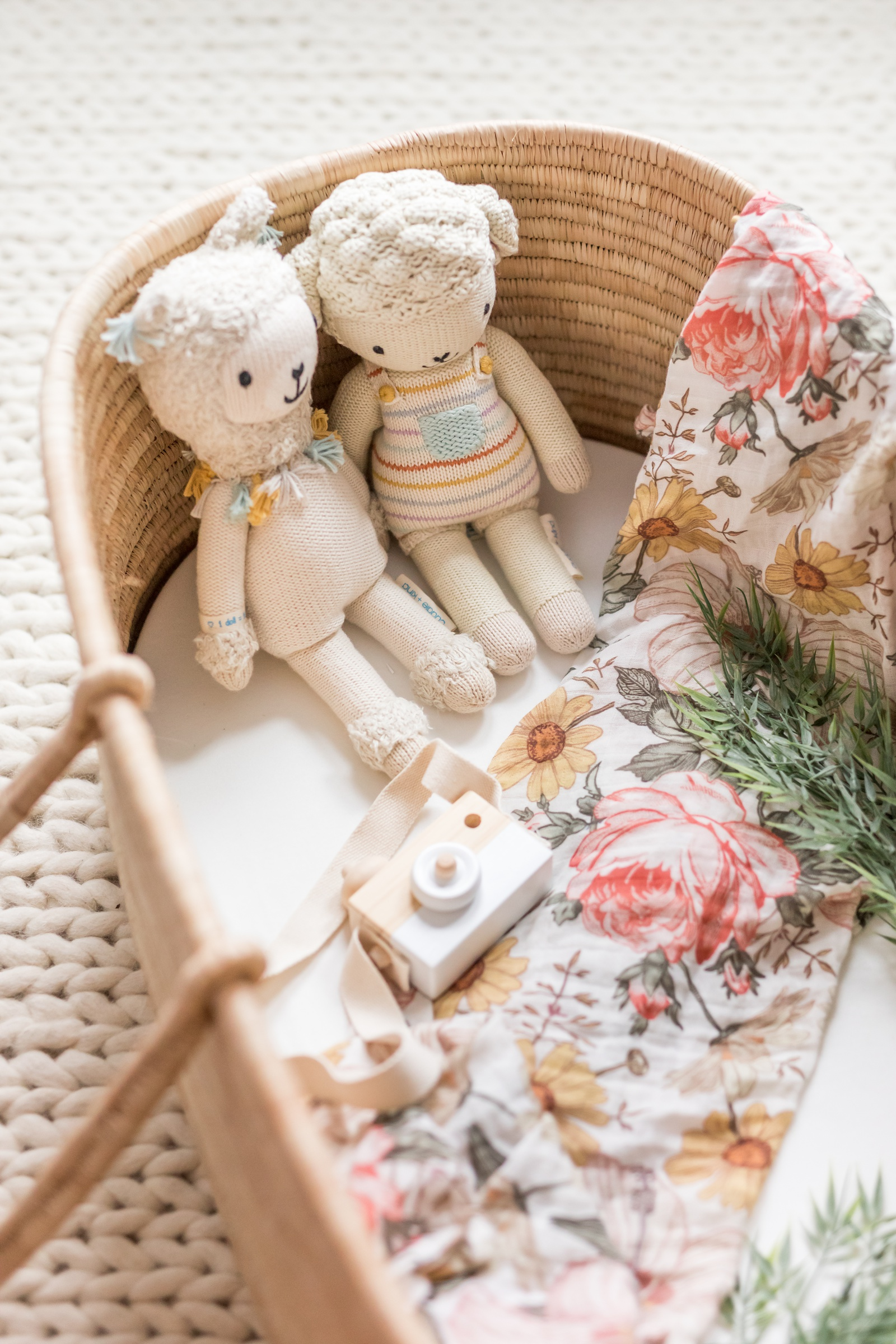 cuddle + kind dolls, tesla baby camera, mini scout floral swaddle, design DUA baassinet
