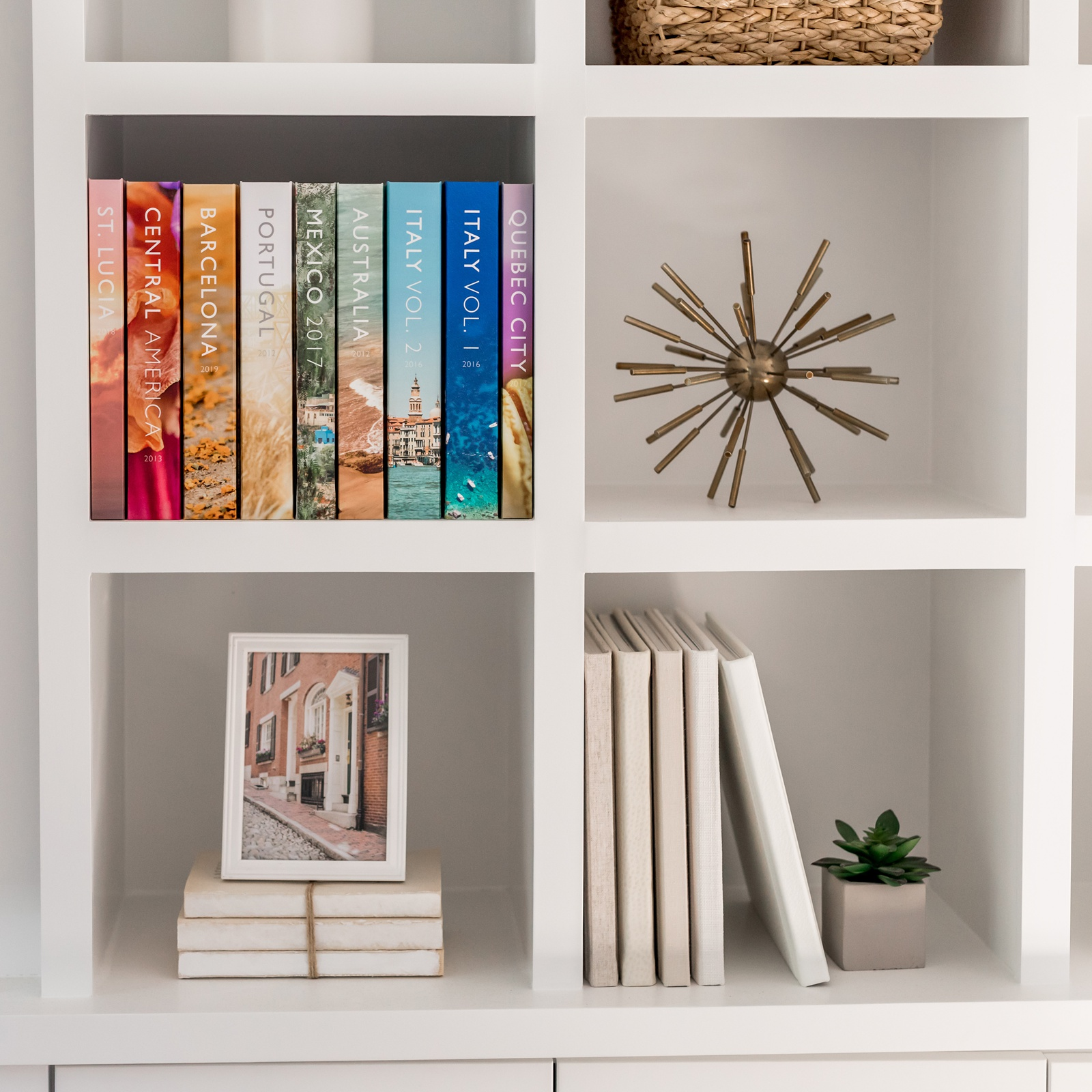 bookshelf with colorful photo albums