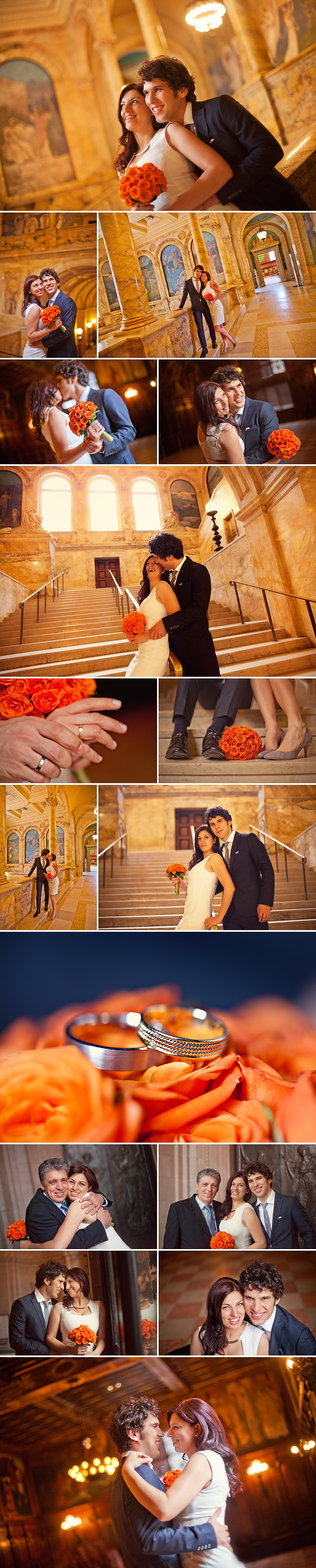 Vasily and Katya's post-wedding photos in the Boston Public Library following their wedding at Boston City Hall.
