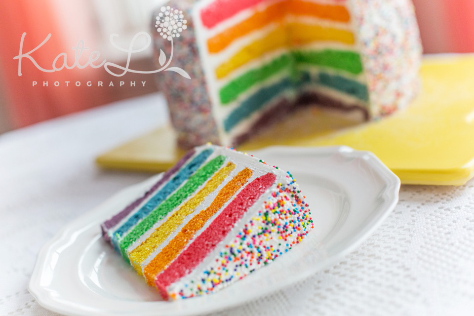 rainbow cake with sprinkles! www.kateLphotography.com