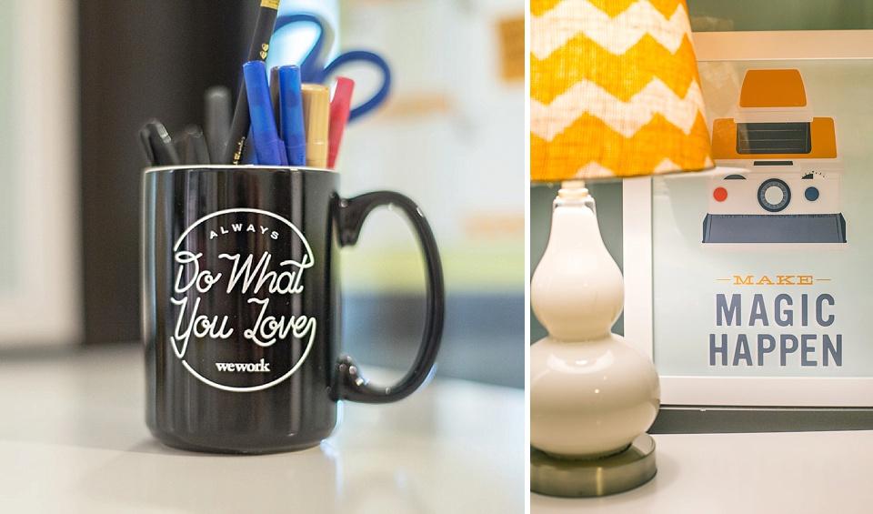 """do what you love"" mug and ""make magic happen"" poster"