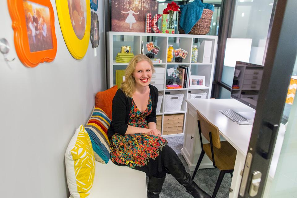kate lemmon inside her photography studio