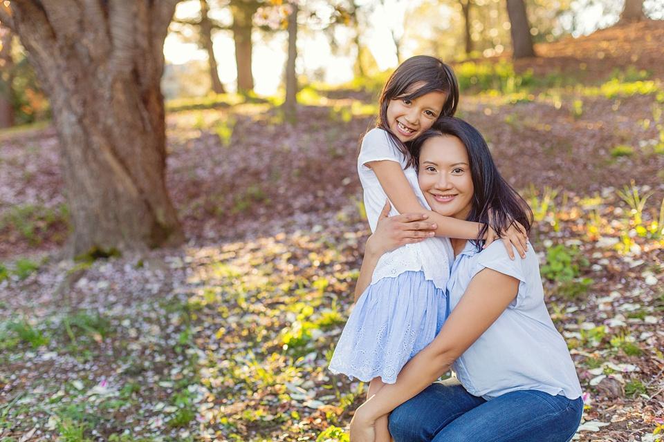 mom and daughter photo in arnold arboretum.