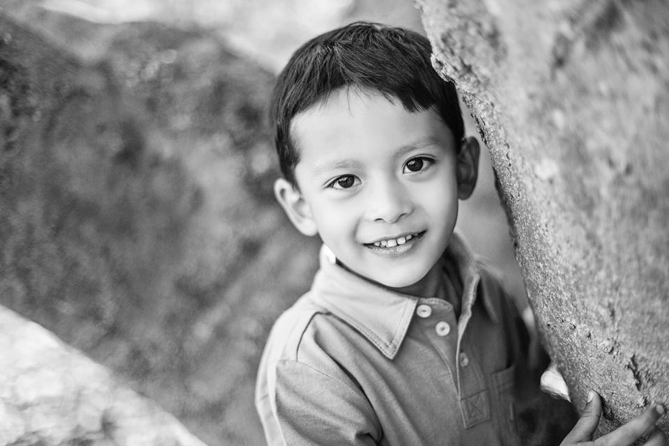 black and white portrait of child in boston.