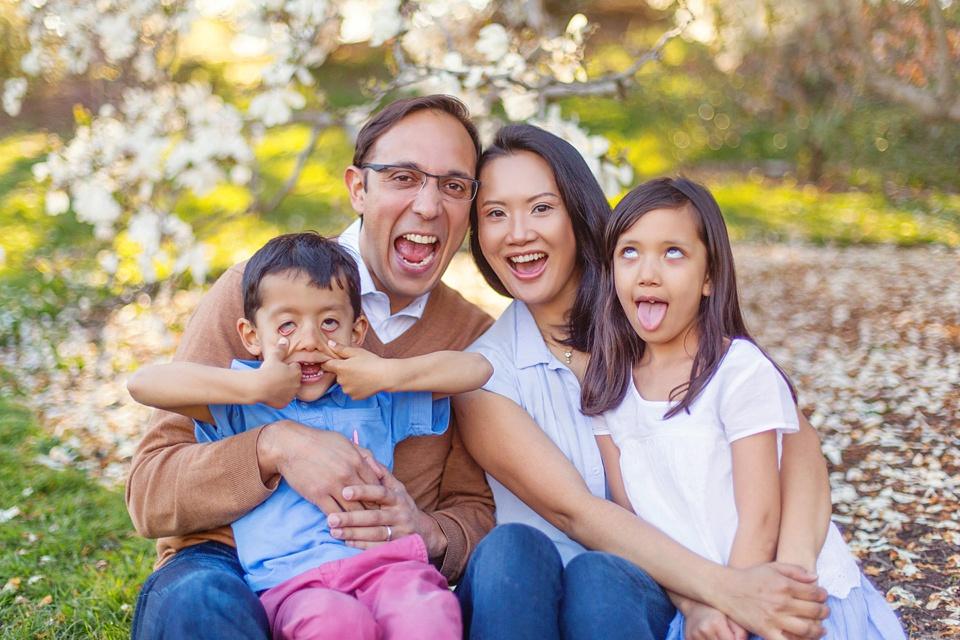 family makes faces at the camera!.