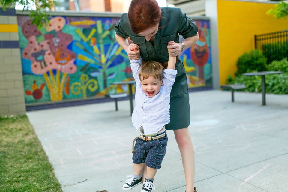 Mom and son photographed together in  Back Bay playground.