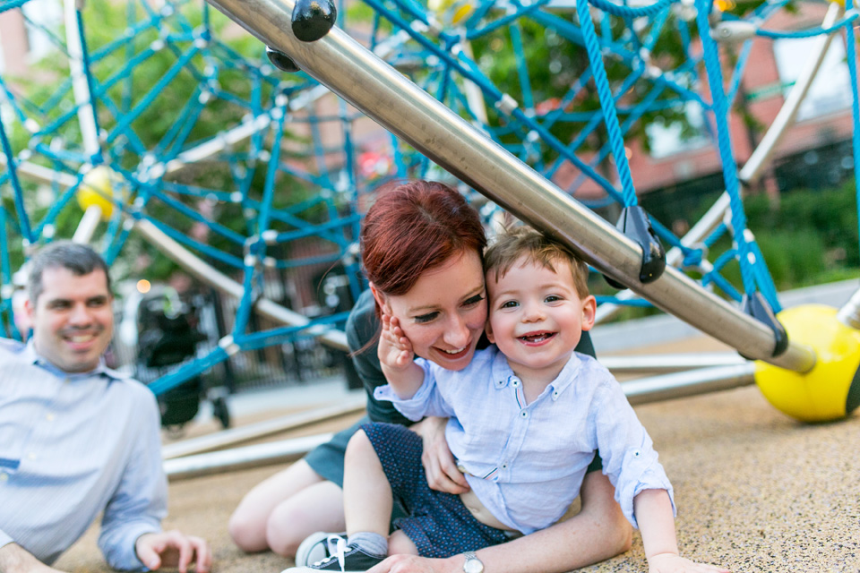 Mom and son play together at Frieda Garcia Park.