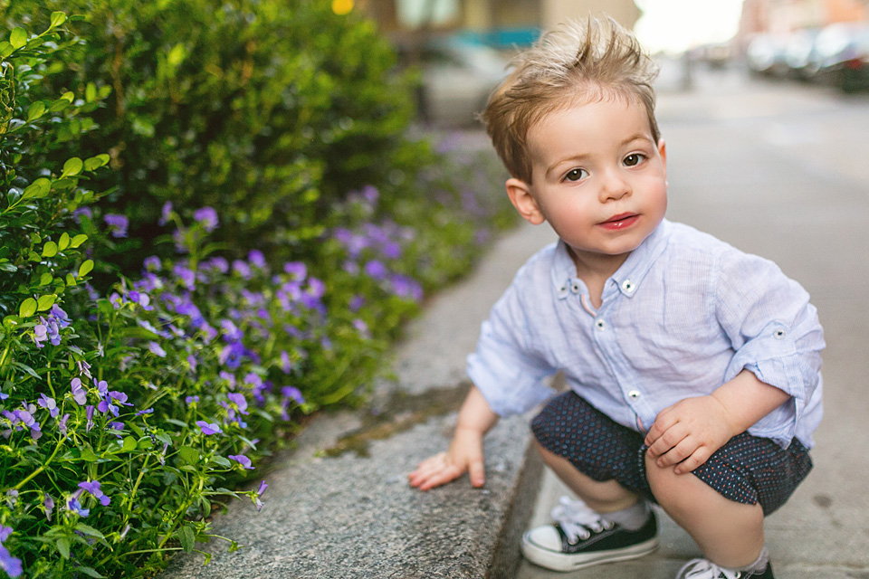 Toddler photographed in natural light in downtown Boston.