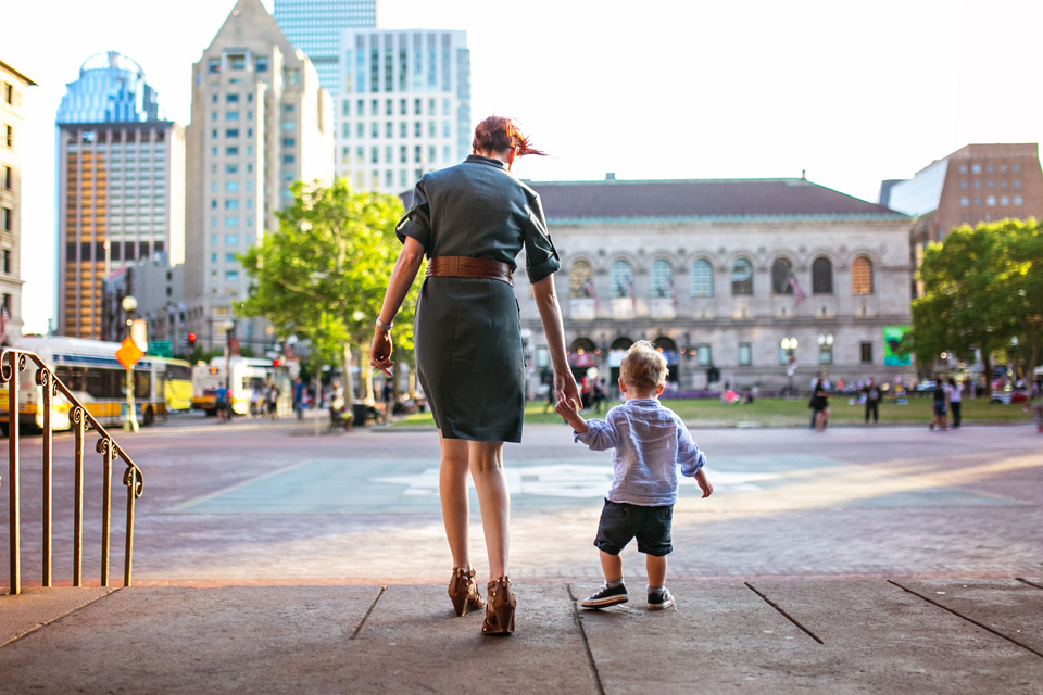Mom and son photographed together in Copley Square.