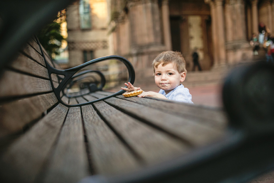 Toddler photographed in Copley Square, Boston.