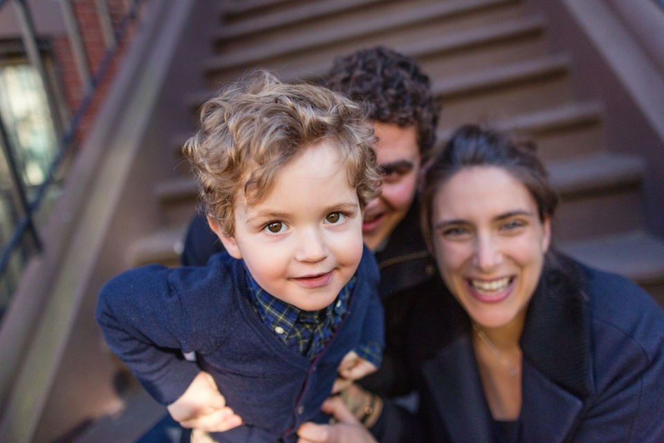 family photos on the steps of a south end brownstone.
