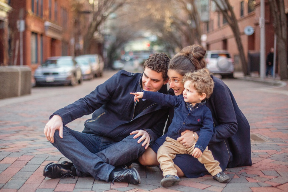 Family photographed together in the South End in Boston, MA.
