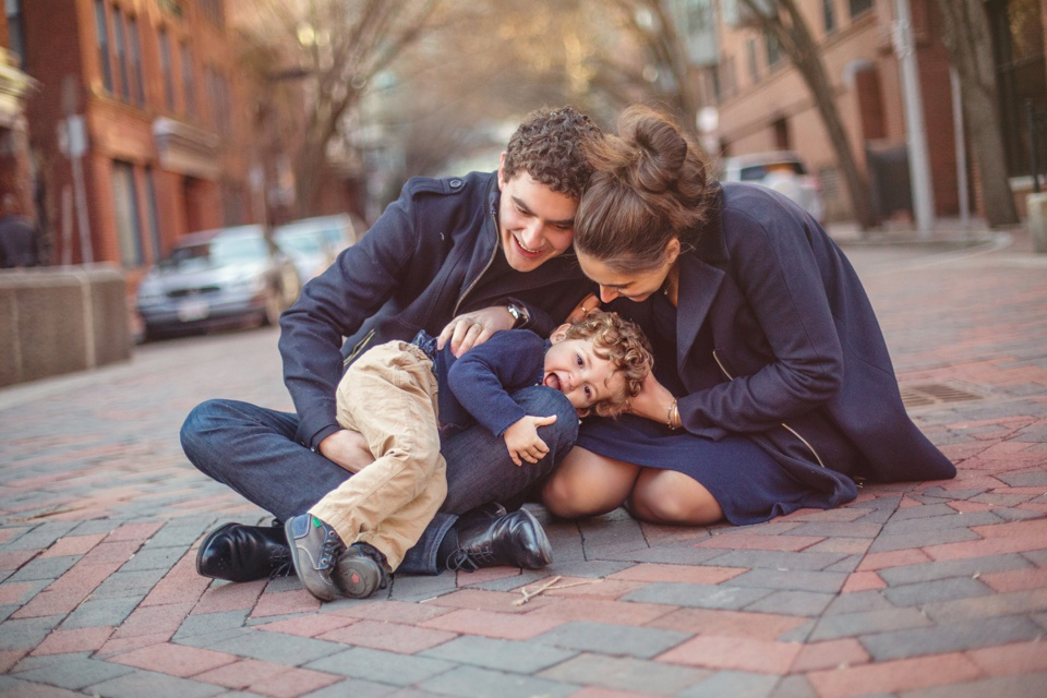 Kate Lemmon photographs families outdoors in Boston's South End using available light.