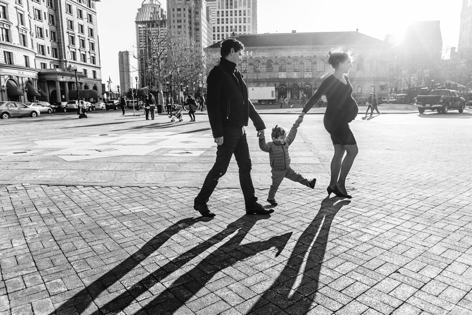 Maternity photographer works in Copley Square in Boston.