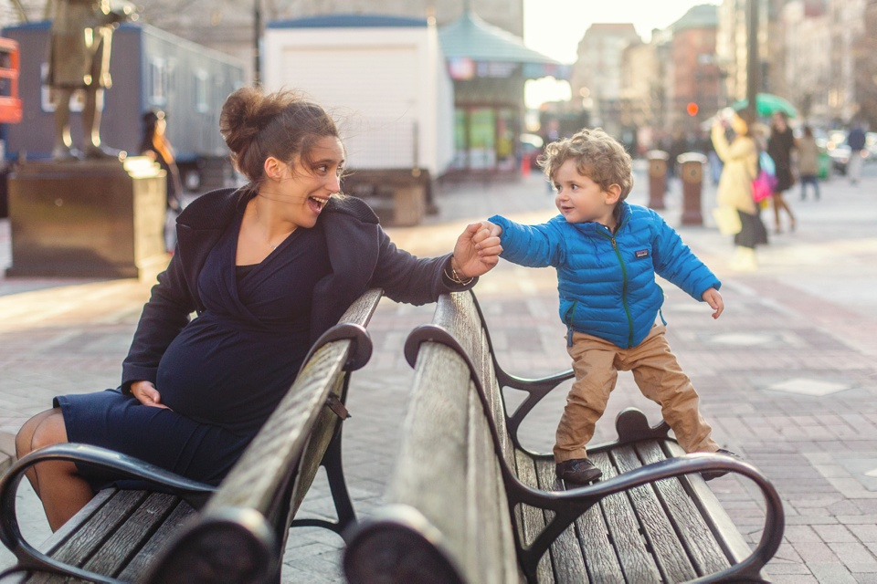 Family adventures on the benches in Copley Square.
