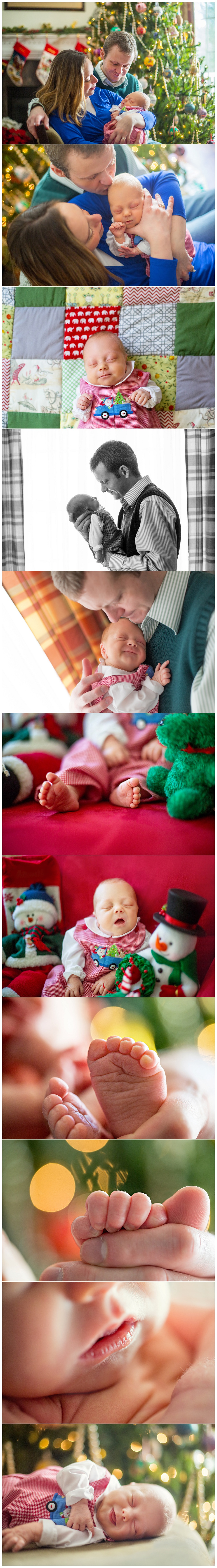 A Boston lifestyle newborn photographer photographs a Christmas baby at home in Newton using natural light.