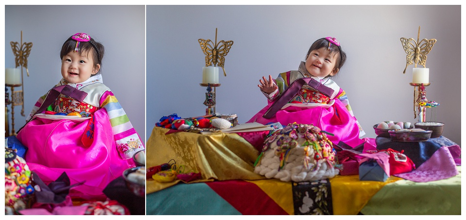 A doljanchi, or dol, which is a Korean first birthday party. Photographed by a family photographer in Watertown. Boston baby photographer.