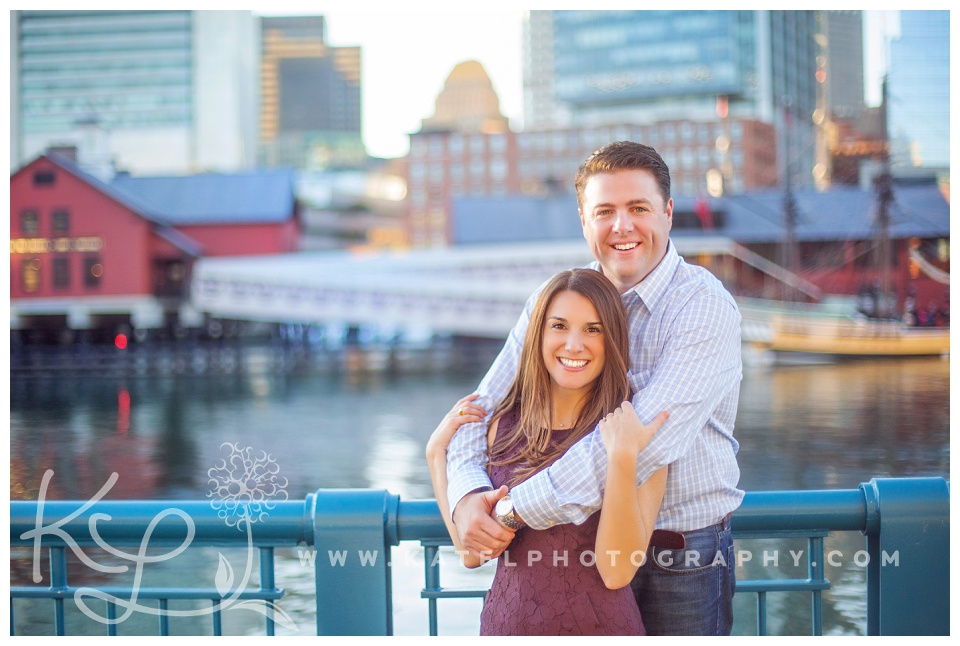 An engagement session photographed in Boston's Seaport District on the Harborwalk.