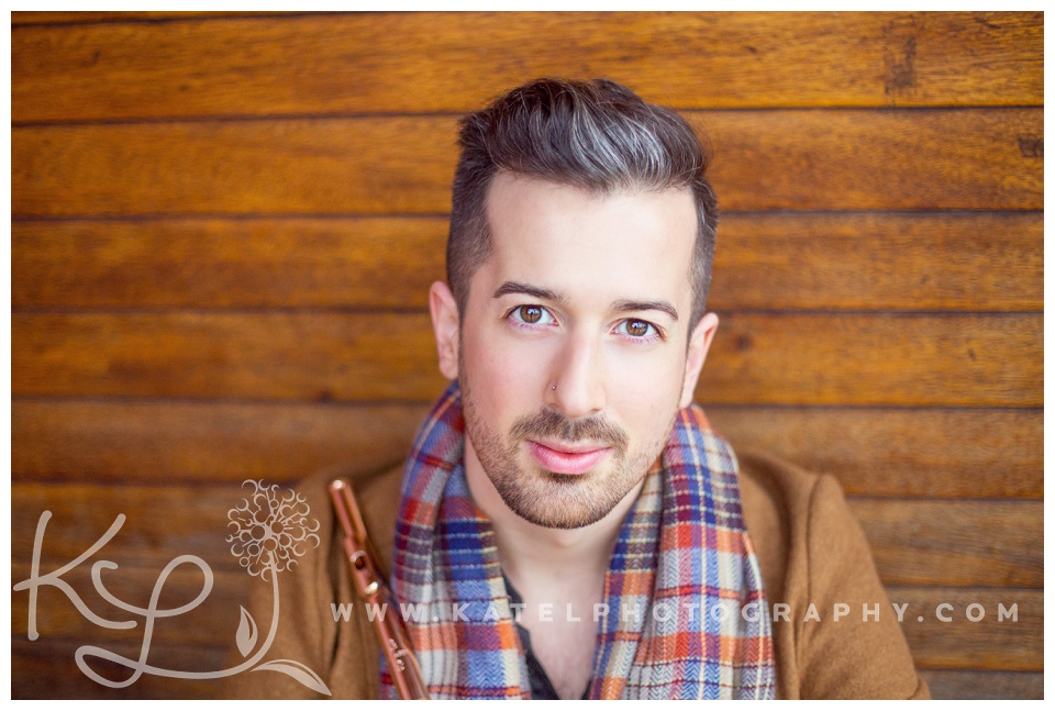 Colorful musician headshots of Christian Paquette, a flutist in Montreal.