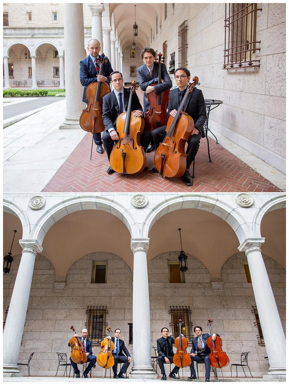 The Boston Cello Quartet's photo shoot at the courtyard of the Boston Public Library in Back Bay. Boston headshot photographer.