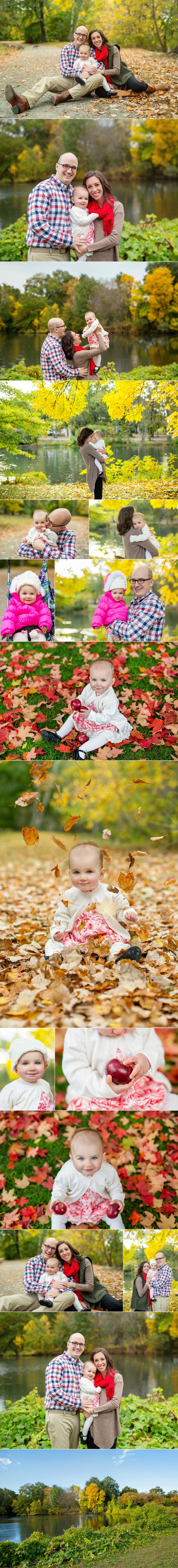 Brookline baby photographer Kate Lemmon captures outdoor images of a one-year-old baby using natural light and colorful autumn leaves.