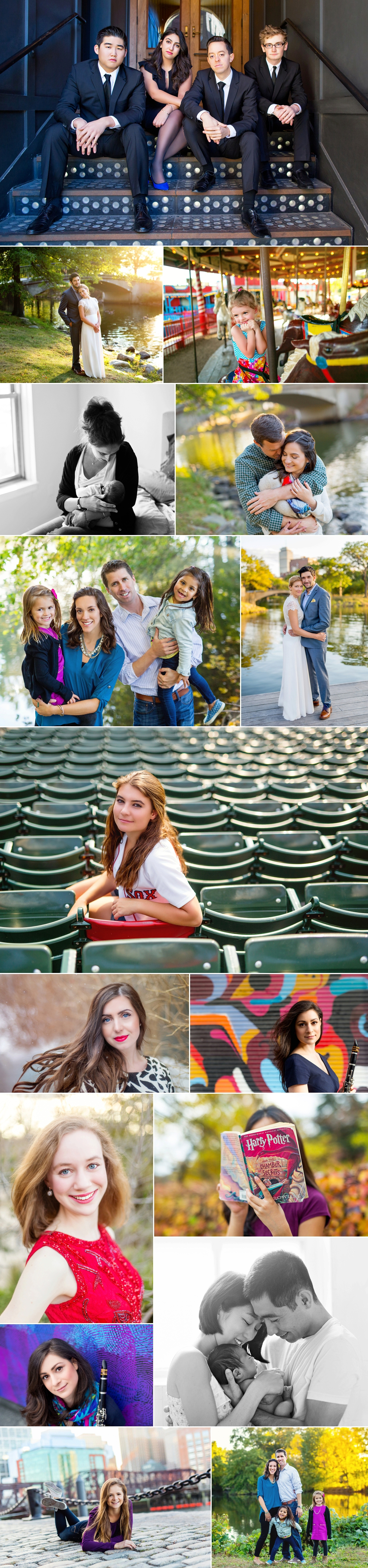 On location photography in Boston, including portraits at Fenway Park.